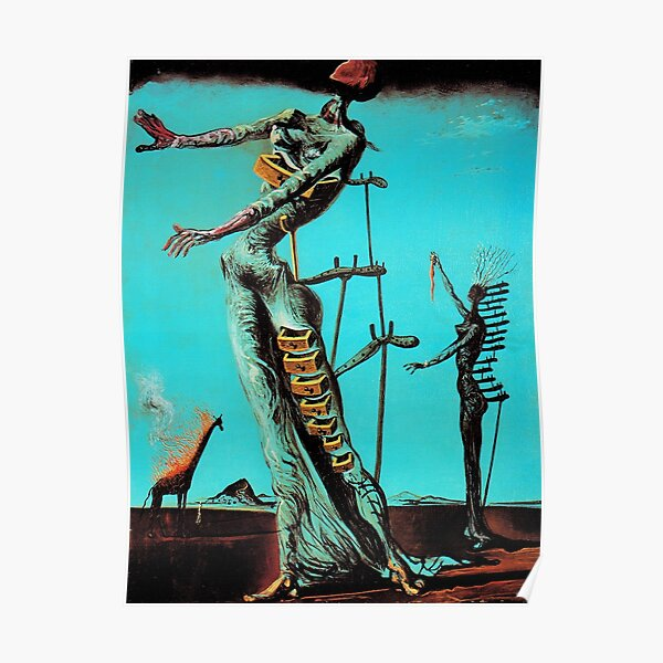 Salvador Dali Burning Giraffe Surreal Famous Painters Poster