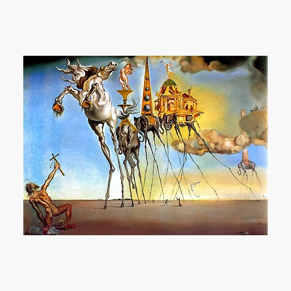 Salvador Dalí Tentación de San Antonio Surrealismo Pintores famosos Lámina fotográfica