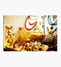 Eastern jewelry market with rings Photographic Print