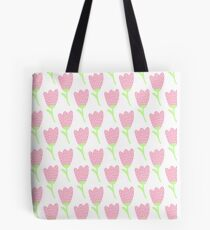 Simple doodle pink tulip pattern. Cute pastel flower seamless background. Summer wallpaper. Tote Bag