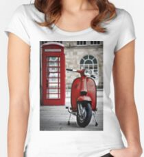 Italian Red Lambretta GP Scooter Women's Fitted Scoop T-Shirt