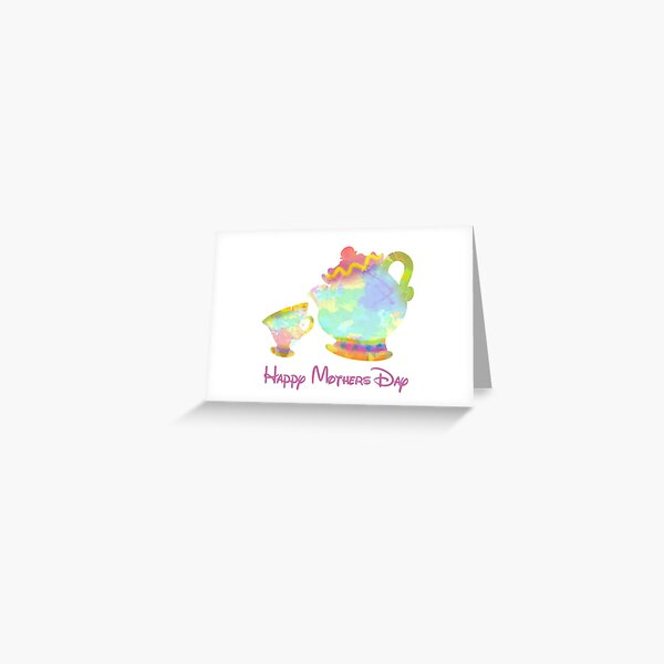 Mothers Day Cup and Teapot Inspired Silhouette Greeting Card