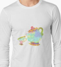 Cup and Teapot Inspired Silhouette Long Sleeve T-Shirt