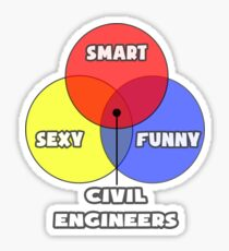 Venn Diagram ... Civil Engineers Sticker