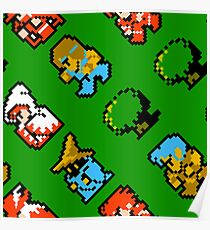 Final Fantasy NES / characters / pattern / green grass Poster