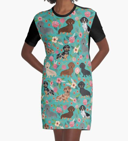 Dachshund florals flower pet portrait dog art dachsie doxie pet art dog breeds by PetFriendly Graphic T-Shirt Dress