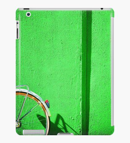 Bicycle wheel and green wall iPad Case/Skin