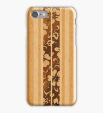 Pupukea Hawaiian Faux Koa Wood Surfboard  iPhone Case/Skin