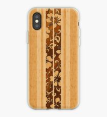 Pupukea Hawaiian Faux Koa Wood Surfboard  iPhone Case