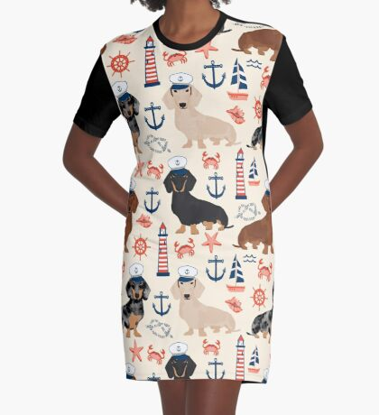 Dachshund nautical sailor dog pet portraits dog costumes dog breed pattern custom gifts by PetFriendly Graphic T-Shirt Dress