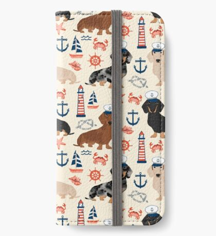 Dachshund nautical sailor dog pet portraits dog costumes dog breed pattern custom gifts by PetFriendly iPhone Wallet