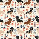 Dachshund nautical sailor dog pet portraits dog costumes dog breed pattern custom gifts by PetFriendly by PetFriendly