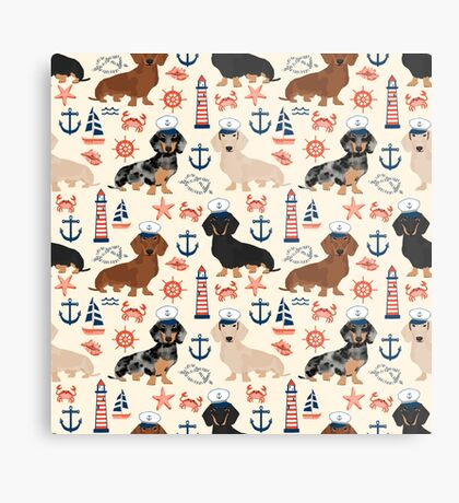 Dachshund nautical sailor dog pet portraits dog costumes dog breed pattern custom gifts by PetFriendly Metal Print