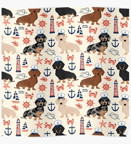 Dachshund nautical sailor dog pet portraits dog costumes dog breed pattern custom gifts by PetFriendly Poster