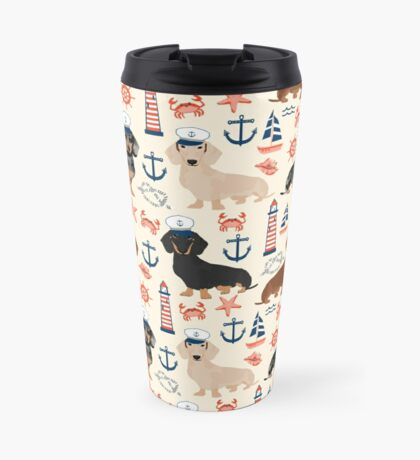 Dachshund nautical sailor dog pet portraits dog costumes dog breed pattern custom gifts by PetFriendly Travel Mug