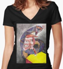 Survive the Coil - Qbert Series #1 Women's Fitted V-Neck T-Shirt
