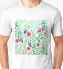 Watercolor Flowers and Butterfly  Unisex T-Shirt