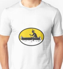 Native American Indian Paddling Canoe Woodcut Unisex T-Shirt