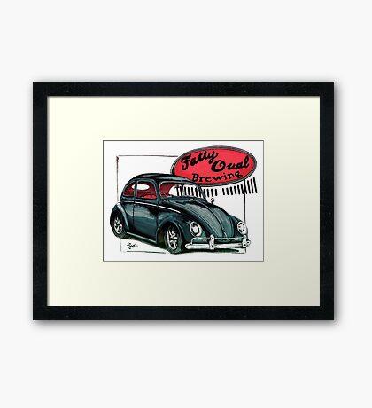Fatty Oval Brew -Red Framed Print