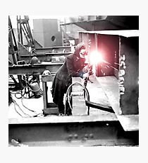 Vintage Female Worker with Oxy-Fuel Cutter Photographic Print