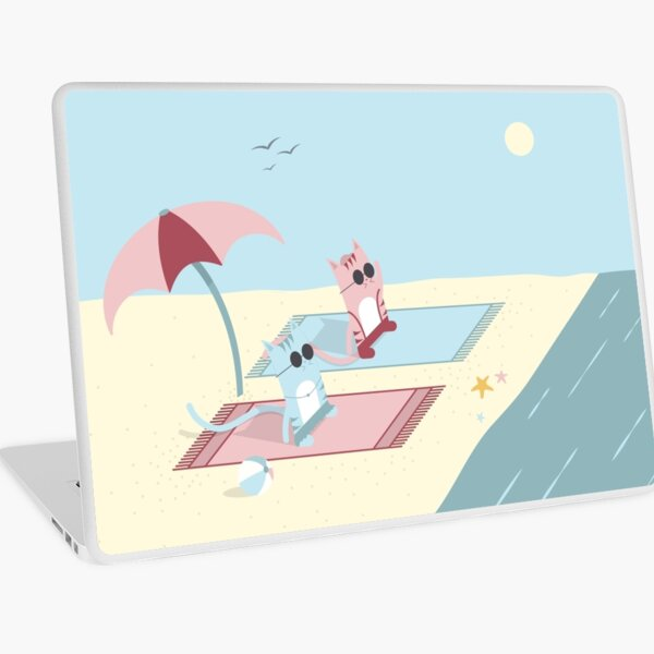 Traveling Tabbies: Let's Go to the Beach Laptop Skin