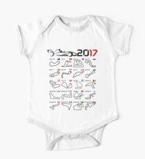 F1 2017 calendar all circuits white bg One Piece - Short Sleeve