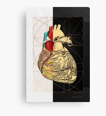 Dualities - Half-Gold Human Heart on Black and White Canvas Canvas Print