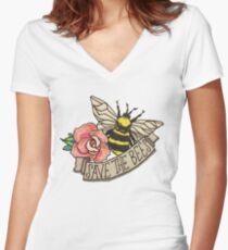 RETTE die Bienen! Shirt mit V-Ausschnitt