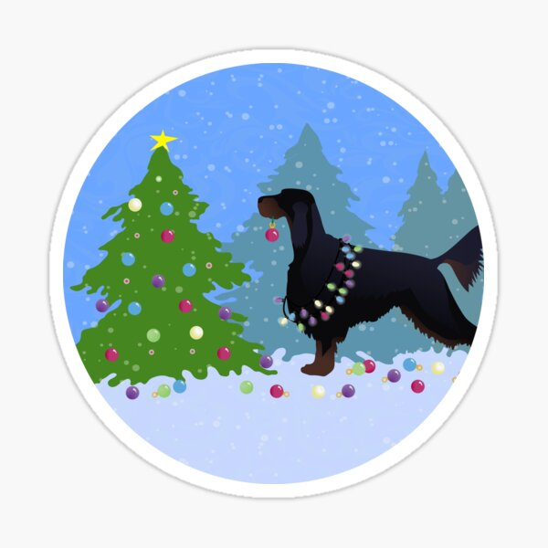 Gordon Setter Dog Decorating Christmas Tree in the Forest Sticker