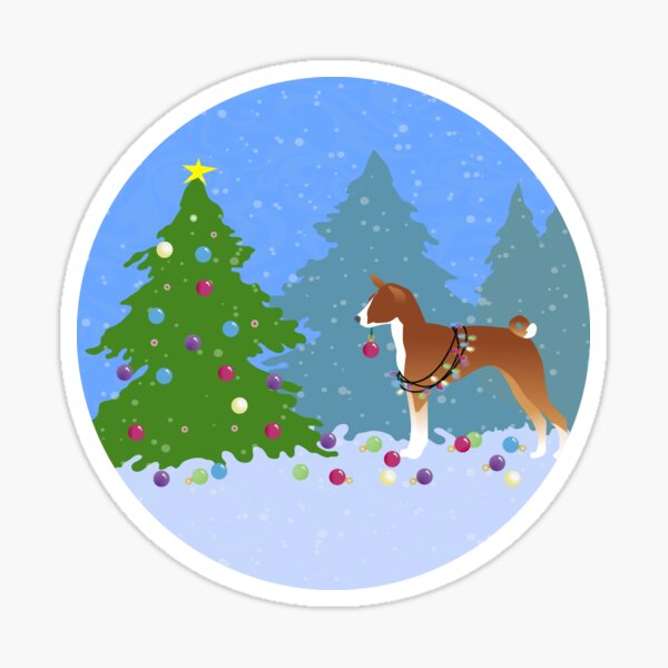 Basenji Dog Decorating Christmas Tree in the Forest Sticker