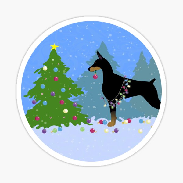 Doberman Pinscher Dog Decorating Christmas Tree in the Forest Sticker