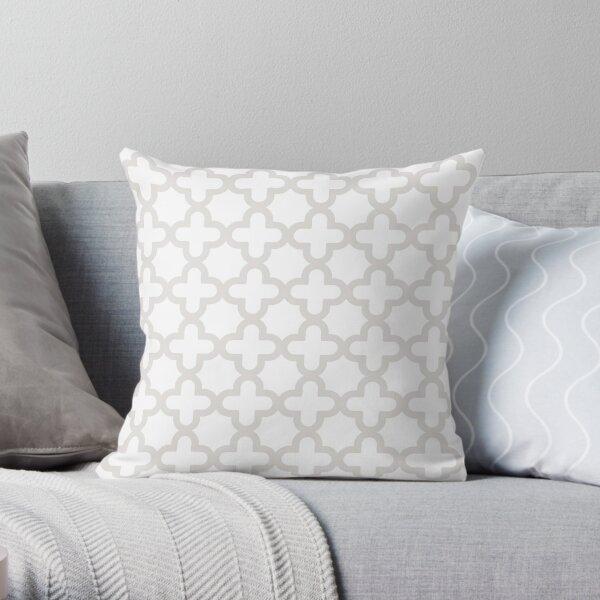 Gray & White, Quatrefoil Pattern Throw Pillow