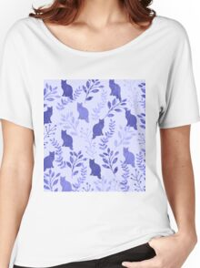 Watercolor Floral and Cat  Women's Relaxed Fit T-Shirt