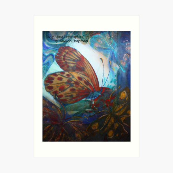 Mixed media Regarding Lepidoptera - Contrasting orange butterfly in watercolour on a blue beautiful background  Art Print