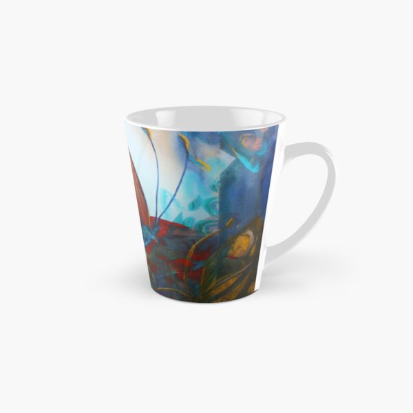Mixed media Regarding Lepidoptera - Contrasting orange butterfly in watercolour on a blue beautiful background  Tall Mug