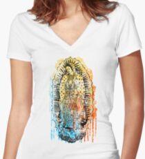 Virgen de Guadalupe Women's Fitted V-Neck T-Shirt