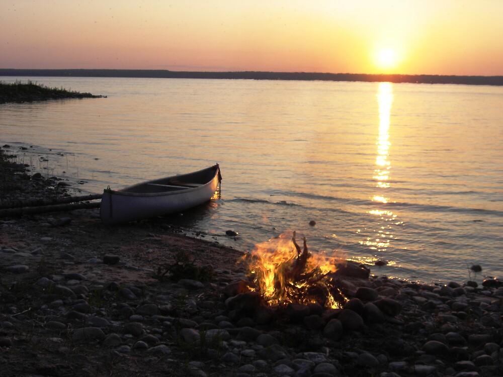 canoe and campfire by JeanO