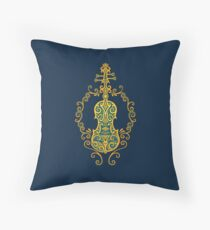Intricate Blue and Yellow Tribal Violin Design Throw Pillow