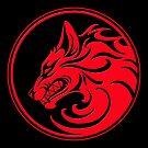 Knurrender roter und schwarzer Wolfsrudel von jeff bartels