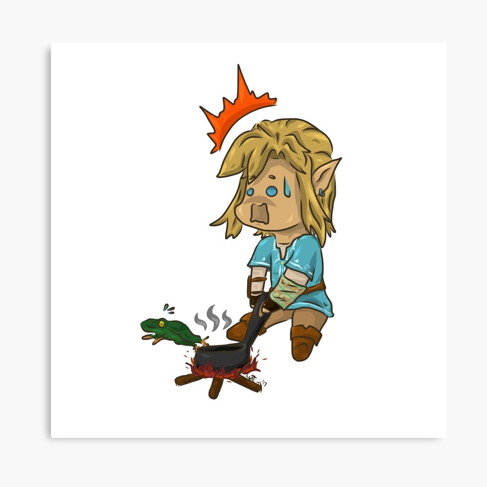 Chibi Botw Link Trying To Cook Canvas Print By The Black