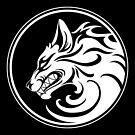 Knurrender weißer und schwarzer Wolfsrudel von jeff bartels