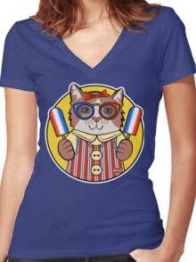 Patriotic Kitty Women's Fitted V-Neck T-Shirt