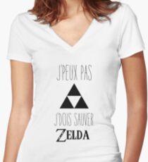 J'peux pas j'dois sauver Zelda! Women's Fitted V-Neck T-Shirt