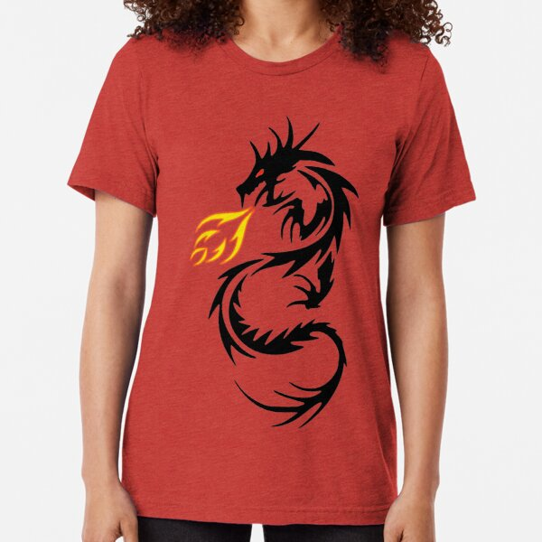 Dragon Tattoo Scales Claws Talons Breathing Fire Medieval Men/'s V-Neck Sport Tee