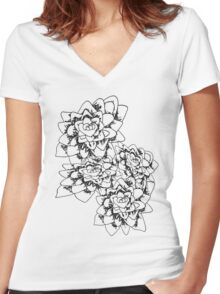 Distorted Flowers Women's Fitted V-Neck T-Shirt