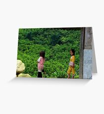 Two Little Girls - Sa Pa, Vietnam. Greeting Card