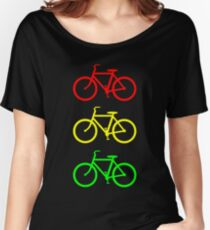 RED YELLOW GREEN BICYCLE PATTERN Women's Relaxed Fit T-Shirt