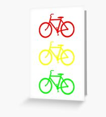 RED YELLOW GREEN BICYCLE PATTERN Greeting Card