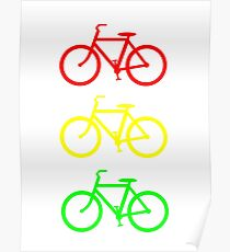 RED YELLOW GREEN BICYCLE PATTERN Poster