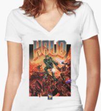 Halo-Doom Women's Fitted V-Neck T-Shirt